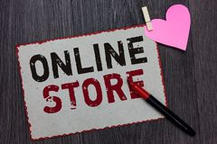 Text sign showing Online Store. Conceptual photo A website that offers items for sale and accept credit cards White page red borde