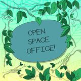 Text sign showing Open Space Office. Conceptual photo minimizes use of small enclosed rooms as private offices Tree. Branches Scattered with Leaves Surrounding vector illustration