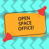 Text sign showing Open Space Office. Conceptual photo minimizes use of small enclosed rooms as private offices Two. Megaphone with Sound icon on Blank Color stock illustration