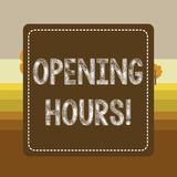 Text sign showing Opening Hours. Conceptual photo the time during which a business is open for customers Dashed Stipple royalty free illustration
