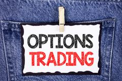 Text sign showing Options Trading. Conceptual photo Options trading investment commodities stock market analysis written on White. Text sign showing Options Stock Image