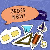 Text sign showing Order Now. Conceptual photo confirmed request by one party to another to buy or sell Two Blank stock illustration