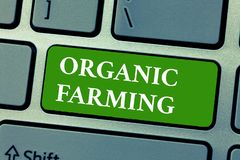 Text sign showing Organic Farming. Conceptual photo an integrated farming system that strives for sustainability.  Stock Images