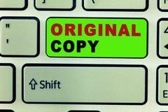 Text sign showing Original Copy. Conceptual photo Main Script Unprinted Branded Patented Master List.  vector illustration