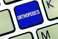 Text sign showing Orthopedics. Conceptual photo Medical specialty concerned with correction of deformities royalty free stock photos
