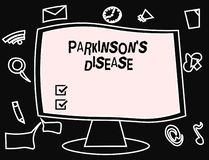 Text sign showing Parkinson s is Disease. Conceptual photo nervous system disorder that affects movement.  royalty free illustration