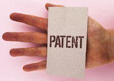 Text sign showing Patent. Conceptual photo License that gives rights for using selling making a product written on Cardboard Piece. Text sign showing Patent stock image