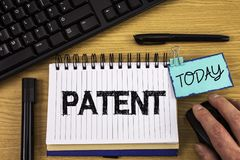 Text sign showing Patent. Conceptual photo License that gives rights for using selling making a product written on Noteoad on wood. Text sign showing Patent stock image