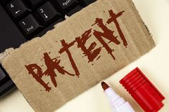 Text sign showing Patent. Conceptual photo License that gives rights for using selling making a product written on Tear Cardboard. Text sign showing Patent royalty free stock images