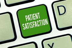 Text sign showing Patient Satisfaction. Conceptual photo Indicator for measuring the quality in health care.  stock photos