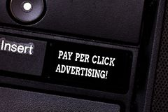 Text sign showing Pay Per Click Advertising. Conceptual photo Modern type of online marketing promotion Keyboard key. Intention to create computer message royalty free stock photography