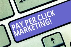 Text sign showing Pay Per Click Marketing. Conceptual photo Digital modern advertising strategies Promotion Keyboard key. Intention to create computer message royalty free stock photos