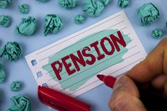 Text sign showing Pension. Conceptual photo Income seniors earn after retirement Saves for elderly years written by Man on Painted. Text sign showing Pension Royalty Free Stock Photography