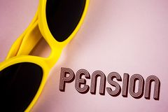 Text sign showing Pension. Conceptual photo Income seniors earn after retirement Saves for elderly years written on Plain Pink bac. Text sign showing Pension Stock Photos