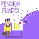 Text sign showing Pension Funds. Conceptual photo investment pools that pay for employee retirement commitments. Text sign showing Pension Funds. Business photo stock illustration