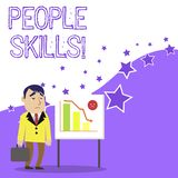 Text sign showing People Skills. Conceptual photo A set of abilities enabling a demonstrating to get along with others. Text sign showing People Skills. Business stock illustration