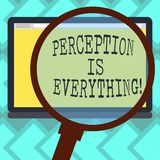 Text sign showing Perception Is Everything. Conceptual photo how we identify failure or defeat makes difference. Magnifying Glass Enlarging Tablet Blank Color stock illustration