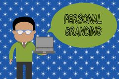 Text sign showing Personal Branding. Conceptual photo Practice of People Marketing themselves Image as Brands Standing. Text sign showing Personal Branding royalty free illustration