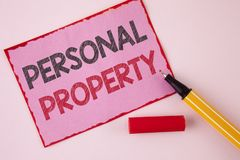 Text sign showing Personal Property. Conceptual photo Belongings possessions assets private individual owner written on Pink Stick. Text sign showing Personal Royalty Free Stock Image