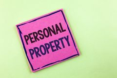 Text sign showing Personal Property. Conceptual photo Belongings possessions assets private individual owner written on Pink Stick. Text sign showing Personal Stock Images