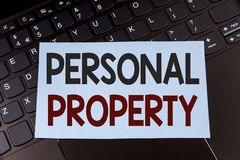 Text sign showing Personal Property. Conceptual photo Belongings possessions assets private individual owner written on Sticky Not. Text sign showing Personal Royalty Free Stock Images