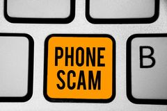 Text sign showing Phone Scam. Conceptual photo getting unwanted calls to promote products or service Telesales Keyboard orange key stock illustration
