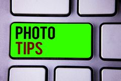 Text sign showing Photo Tips. Conceptual photos Suggestions to take good pictures Advices for great photosgraphy. Text sign showing Photo Tips. Conceptual photo stock photos