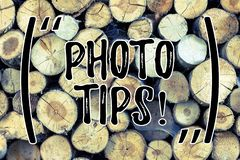 Text sign showing Photo Tips. Conceptual photo Suggestions to take good pictures Advices for great photography Wooden. Text sign showing Photo Tips. Business royalty free stock images