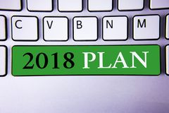 Text sign showing 2018 Plan. Conceptual photo Challenging Ideas Goals for New Year Motivation to Start. Concept For Information vector illustration