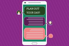 Text sign showing Plan Out Your Day. Conceptual photo Make an schedule of activities to do everyday be organized Mobile. Messenger Screen with Chat Heads and vector illustration