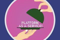 Text sign showing Platform As A Service. Conceptual photo Mobile online technologies assistance support Hu analysis royalty free illustration