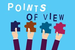 Text sign showing Points Of View. Conceptual photo Interpretation Opinion Assessment Insight of an individual