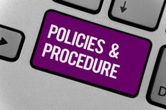 Text sign showing Policies and Procedure. Conceptual photo list of rules defines customer and buyer rights Keyboard key office typ stock photography