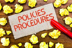 Text sign showing Policies Procedures. Conceptual photo Influence Major Decisions and Actions Rules Guidelines.  stock photo