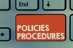 Text sign showing Policies Procedures. Conceptual photo Influence Major Decisions and Actions Rules Guidelines stock photography