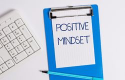 Text sign showing Positive Mindset. Conceptual photo mental attitude in wich you expect favorable results. Text sign showing Positive Mindset. Business photo royalty free stock photography
