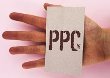 Text sign showing Ppc. Conceptual photo Pay Per Click Advertising Strategies Direct Traffic to Websites written on Cardboard Piece. Text sign showing Ppc royalty free stock image