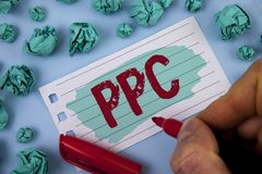 Text sign showing Ppc. Conceptual photo Pay Per Click Advertising Strategies Direct Traffic to Websites written by Man on Painted. Text sign showing Ppc royalty free stock image