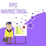 Text sign showing Ppc Marketing. Conceptual photo using search engine advertising to make clicks to your website. Text sign showing Ppc Marketing. Business photo stock illustration