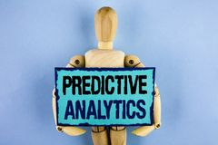 Text sign showing Predictive Analytics. Conceptual photo Method to forecast Performance Statistical Analysis written on Sticky not. Text sign showing Predictive Royalty Free Stock Photos