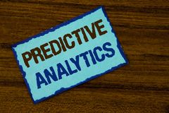 Text sign showing Predictive Analytics. Conceptual photo Method to forecast Performance Statistical Analysis written on Sticky not. Text sign showing Predictive Stock Photography