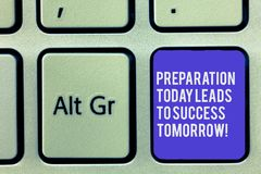 Text sign showing Preparation Today Leads To Success Tomorrow. Conceptual photo Prepare yourself now for future Keyboard royalty free stock photos
