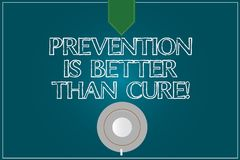 Text sign showing Prevention Is Better Than Cure. Conceptual photo Always be aware of your health conditions Coffee Cup Saucer Top. View photo Reflection on royalty free stock photos