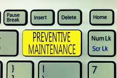 Text sign showing Preventive Maintenance. Conceptual photo Avoid Breakdown done while machine still working.  royalty free stock photo
