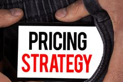 Text sign showing Pricing Strategy. Conceptual photo Marketing sales strategies profit promotion campaign written on Mobile Screen. Text sign showing Pricing Royalty Free Stock Images