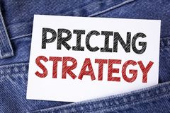 Text sign showing Pricing Strategy. Conceptual photo Marketing sales strategies profit promotion campaign written on Sticky Note P. Text sign showing Pricing Stock Image
