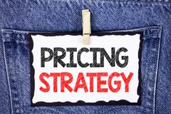 Text sign showing Pricing Strategy. Conceptual photo Marketing sales strategies profit promotion campaign written on White Sticky. Text sign showing Pricing Royalty Free Stock Images