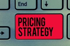 Text sign showing Pricing Strategy. Conceptual photo set maximize profitability for unit sold or market overall.  stock image