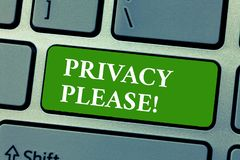 Text sign showing Privacy Please. Conceptual photo asking someone to respect your personal space Leave alone.  royalty free stock photography