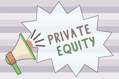 Text sign showing Private Equity. Conceptual photo Capital that is not listed on a public exchange Investments.  royalty free illustration